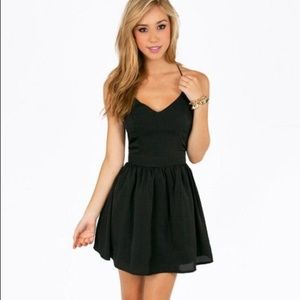 TOBI black skater dress with tulle skirt lining